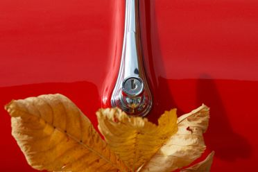 CARS :: RED PORSCHE WITH YELLOW LEAF